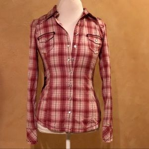GUESS Los Angeles Western Plaid Embroidered Blouse